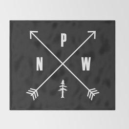 PNW Pacific Northwest Compass - White on Black Minimal Throw Blanket