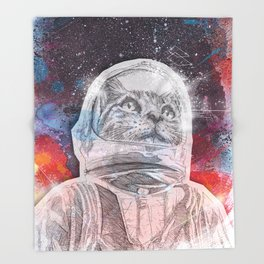 Space_Cat Throw Blanket