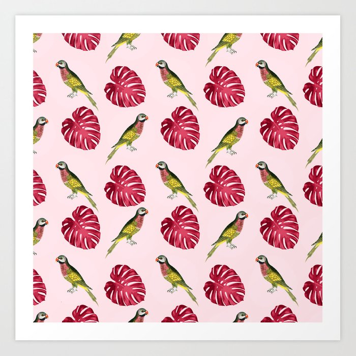 parrots and red leaves Art Print