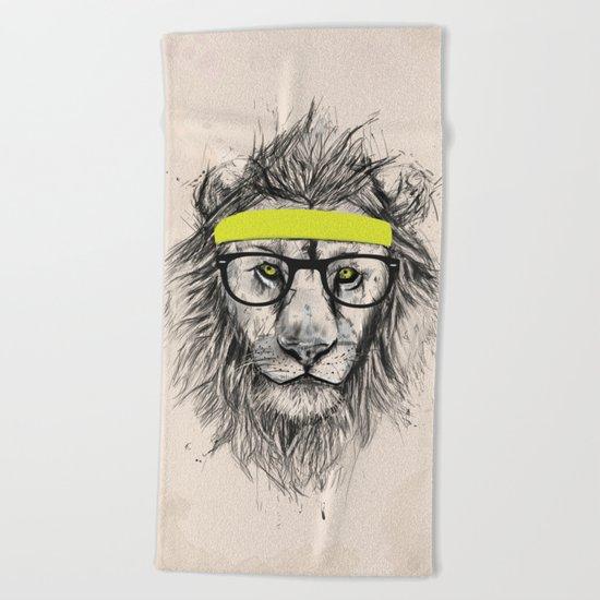 Hipster lion (light version) Beach Towel