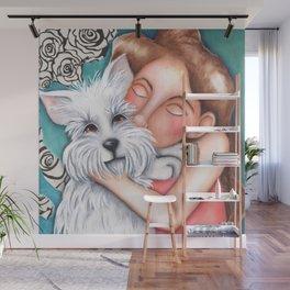 Sweet Coconut Original Art Schnauzer and girl Portrait Wall Mural