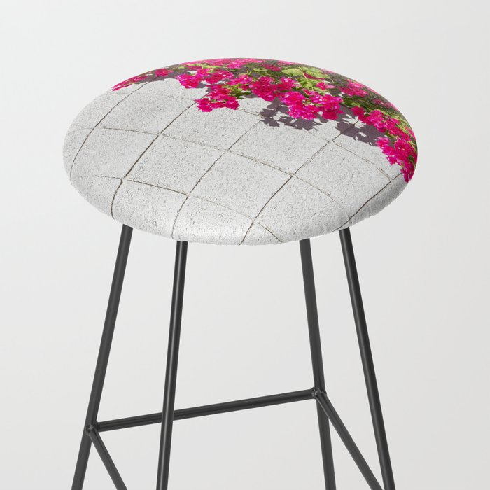 Bougainvilleas and White Brick Wall in Palm Springs, California Bar Stool