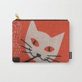 Retro White Cat Smoking a Pipe Carry-All Pouch