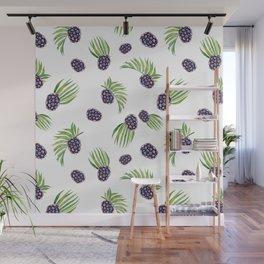 Hand painted black green watercolor fruity blackberries Wall Mural