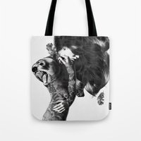 custom Tote Bags featuring Bear #2 by Jenny Liz Rome