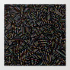 Ab Linear Rainbow Black Canvas Print