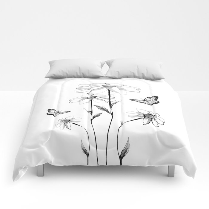 Flowers and butterflies 2 Comforters