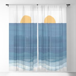 Abstract waves and sunshine Sheer Curtain