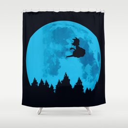 The Moon on Dragon Ball - Blue Shower Curtain