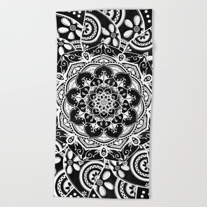 Spirit Within Black & White Patterned Mandala Beach Towel