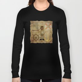 Captain, ship, rudder, anchor, lifebelt, map, compass, old map, messy, messy map Long Sleeve T-shirt