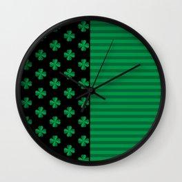 St. Patrick's Day Shamrocks And Stripes  Wall Clock