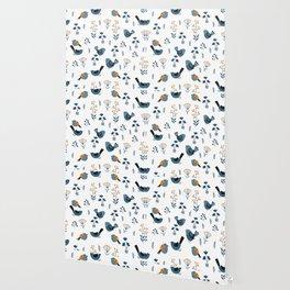 Modern Birds Pattern Wallpaper
