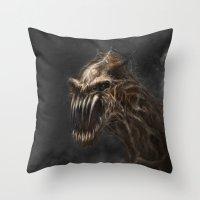 teeth Throw Pillows featuring Teeth by Anne the Viking