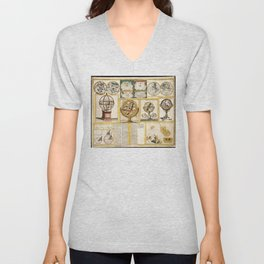 Collection of Astronomical Instruments, Charts and Maps (1769) Unisex V-Neck