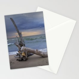 Sunrise on the Beach with Driftwood at Oscoda Michigan Stationery Cards