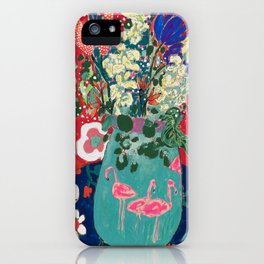 Wild Flowers in Flamingo Vase Floral Painting iPhone Case