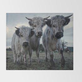 The Three Shaggy Cows Throw Blanket