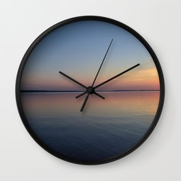 Tranquility sunset on the lake Wall Clock