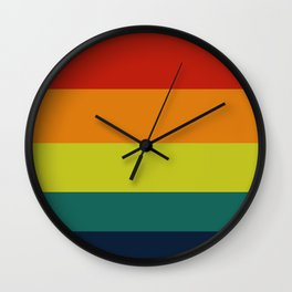 Vintage Bicycle Colorful Geometric Pattern Colour Block Stripes Wall Clock