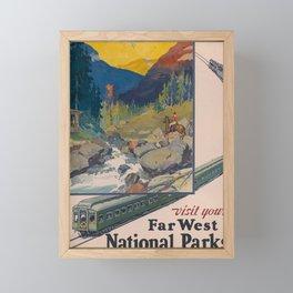 Far West National Parks by Train Travel Poster Framed Mini Art Print