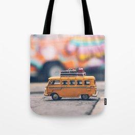 orange toy bus Tote Bag