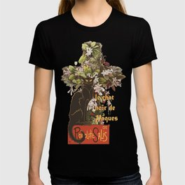 Easter Le Chat Noir de Paques With Floral Cross T-shirt