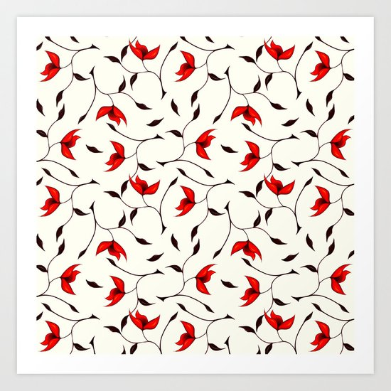 Strange Red Flowers Pattern Art Print