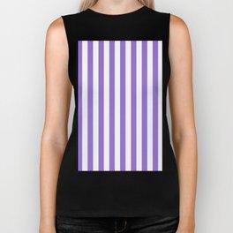 Narrow Vertical Stripes - White and Dark Pastel Purple Biker Tank