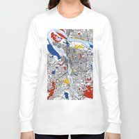 portland Long Sleeve T-shirts featuring Portland by Mondrian Maps