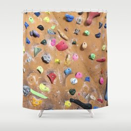 Wooden boulders climbing gym bouldering photography Shower Curtain