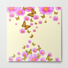 ABSTRACT PINK ROSES & MONARCH BUTTERFLIES Metal Print