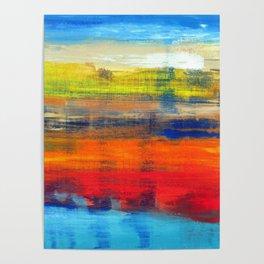 Horizon Blue Orange Red Abstract Art Poster