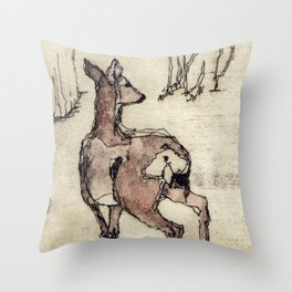 Deer | Watercolored Etching Throw Pillow