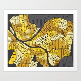 Pittsburgh Typography Neighborhood Map Art Print