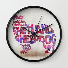 Shetland Sheepdog (Sheltie) Typography Art / Watercolor Painting Wall Clock