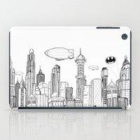 gotham iPad Cases featuring Gotham City Skyline by CHAR ODEN