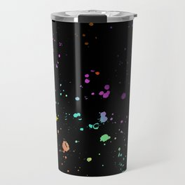 Rainbow Splatter on Black Travel Mug