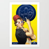 feminism Art Prints featuring Whovian feminism by ElinJ