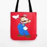 super mario Tote Bags featuring Super Mario by Valiant