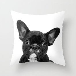Black and White French Bulldog Throw Pillow