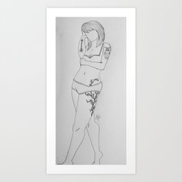 Shy Femme. Art Print