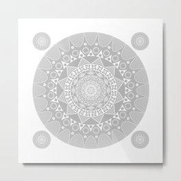 Mystical Grey Mandala Metal Print