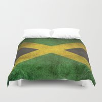 jamaica Duvet Covers featuring Old and Worn Distressed Vintage Flag of Jamaica by Jeff Bartels