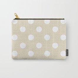 Polka Dots - White on Pearl Brown Carry-All Pouch