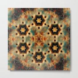 Kaleidoscope Hedgehog, Brown and Blue Metal Print