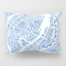 Copenhagen Denmark watercolor city map Pillow Sham