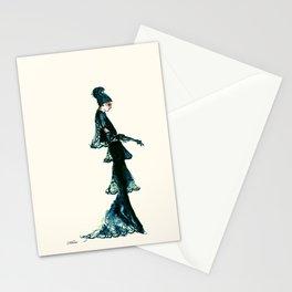 Vintage Vogue - Diesel Blue Fashion Dress Stationery Cards