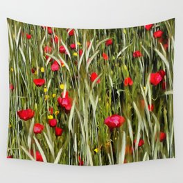 Red Poppies In A Cornfield Wall Tapestry