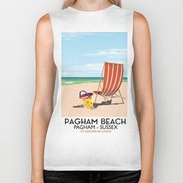 Pagham Beach West Sussex travel poster, Biker Tank